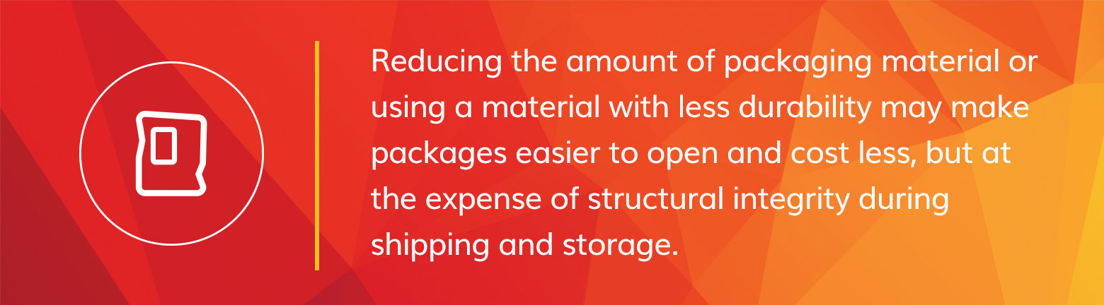 Reducing packaging materials cost more in the long run