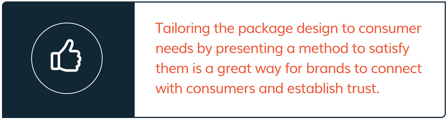Correct package design needs to satisfy consumer's needs